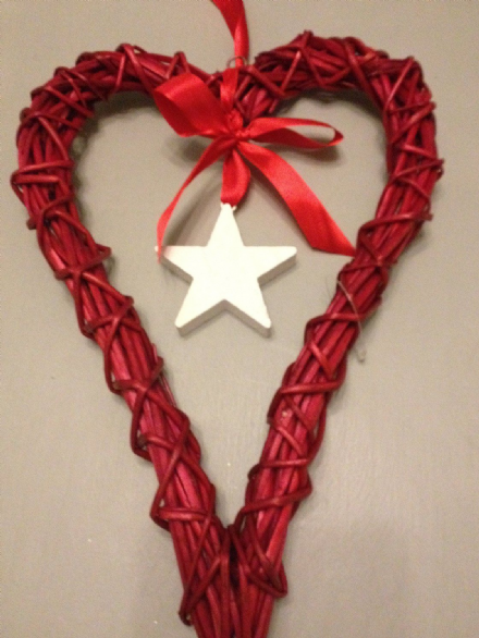 Red Willow Handcrafted Heart with Wooden White Star & Red Ribbon ~ Christmas ~ Wedding ~ Hanging Decor